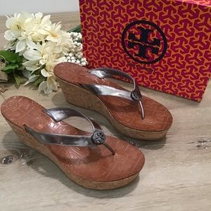 Tory Burch Thora Cork Wedge Pewter Sandals